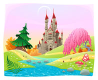 Mythologische Landschaft mit mittelalterlichem Schloss. Stockbilder