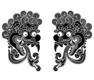 Mythologischer Gottkopf, indonesische traditionelle Kunst Stockbild
