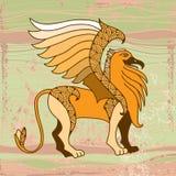 Mythologischer Greif auf einem strukturierten Hintergrund Die Reihe von mythologischen Geschöpfen Lizenzfreies Stockfoto