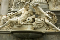 Mythology fountain on the front of Vienna parliament Royalty Free Stock Photography