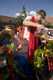 The mythology god of wine Bacchus. PEZINOK,SR - SEPTEMBER 28: The mythology god of wine Bacchus is serving the wine at the allegorical procession during the Stock Photos