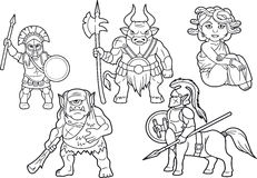 Mythology set of cartoon images. Greek mythology set of cartoon images vector illustration