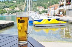 Mythos beer, Paxos Stock Image