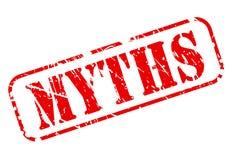 MYTHOS- roter Textstempel auf Weiß Stockfotos