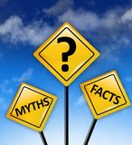 Myths or Facts concept on yellow road sign Stock Images