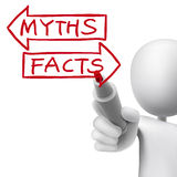 Myths or facts words written by 3d man Royalty Free Stock Images