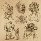 Myths and Monsters. Myths and Legendary monsters around the World (set no. 1) - Collection of an hand drawn illustrations. Description: Each drawing comprise of Stock Photography