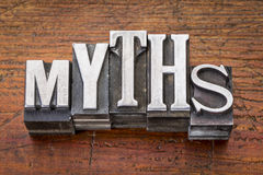 Myths word in metal type Royalty Free Stock Photo