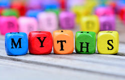 Myths word on table Stock Photography