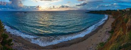 Mytikas Beach sunset panorama (Greece, Lefkada). Stock Photography