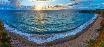 Mytikas Beach sunset panorama (Greece, Lefkada). Stock Photos