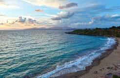 Mytikas Beach sunset view (Greece, Lefkada). Royalty Free Stock Photos