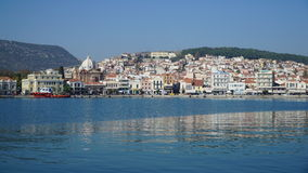 Mytilene. Harbor stock image