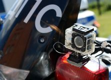 Video camera-recorder on the police motorcycle traffic police. Royalty Free Stock Photos