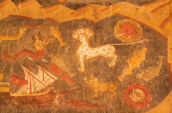 Mytiska djur från de bibliska berättelserna på frescoes av den kristna domkyrkan Arkivbild