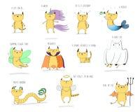 Mytiska katter vektor illustrationer