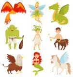 Mytiska sagavarelser uppsättning, kentaur, Pegasus, grip, Medusa Gorgon, sjöjungfru, drake som flammar den Phoenix fågeln royaltyfri illustrationer