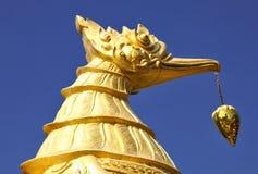 Mytiskt svan-som varelsen Hongse skjuta i höjden in i blå himmel arkivbilder