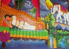Mytologisk bild på väggen av den asiatiska templet Arkivfoton