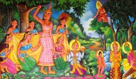 Mytologisk bild på väggen av den asiatiska templet Fotografering för Bildbyråer