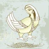 Mytologisk fågel med huvudet av kvinnan på texturerad bakgrund Serien av mytologiska varelser Stock Illustrationer