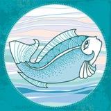 Mytologisk fisk med huvudet av kvinnan Serien av mytologiska varelser Vektor Illustrationer