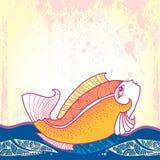 Mytologisk guldfisk som svävar på vågorna Serien av mytologiska varelser Vektor Illustrationer
