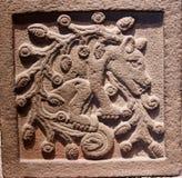 Mytologisk varelse - stendetaljer i museet av antropologi i Mexico arkivbilder