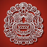 Mytologiska guds framsida Balinesetradition Barong Arkivfoto