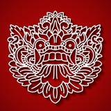 Mytologiska guds framsida Balinesetradition Barong royaltyfri illustrationer