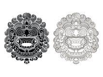 Mytologiska guds maskeringar Balinesestil Barong stock illustrationer