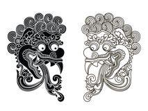 Mytologiska guds maskeringar Balinesestil Barong royaltyfri illustrationer