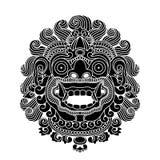 Mytologiskt gudhuvud, indonesisk traditionell konst royaltyfri illustrationer