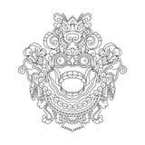 Mytologiskt gudhuvud, indonesisk traditionell konst arkivfoton