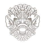 Mytologiskt gudhuvud, indonesisk traditionell konst stock illustrationer