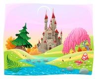 Mytologiskt landskap med den medeltida slotten. Arkivbilder