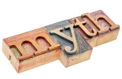 Mytord i wood typ för boktryck Arkivfoton