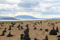 Myvatn湖风景,冰岛。 免版税库存照片