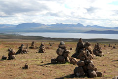 Myvatn湖风景,冰岛。 库存图片
