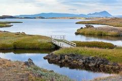 Myvatn Lake landscape at North Iceland royalty free stock image