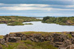 Myvatn Lake at North Iceland at Overcast Weather Stock Photography