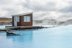 Myvatn nature baths in Iceland. Jardbodin nature baths also called bathing lagoon around Myvatn in Iceland stock photo