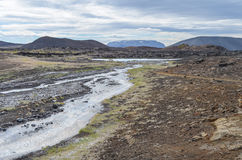 Myvatn Nature Baths. The surroundings of Myvatn Nature Baths during summer stock image