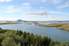 Myvatn sjö i Island. Arkivbilder
