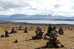 Myvatn sjölandskap, Island. Arkivbilder