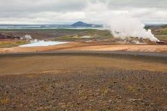 Myvatn sjösikt från kullen Royaltyfri Foto