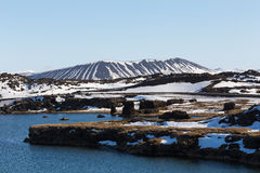 Myvatn volcano with small lake Stock Images