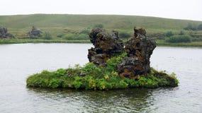Myvattn Hofdi area. Colourfull volcanic rock at the Hofdi peninsula of Myvatn lake royalty free stock images