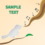 Myza. Singing bird on a branch, vector image Royalty Free Stock Photos
