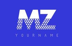 MZ M Z Dotted Letter Logo Design con el fondo azul Fotos de archivo libres de regalías